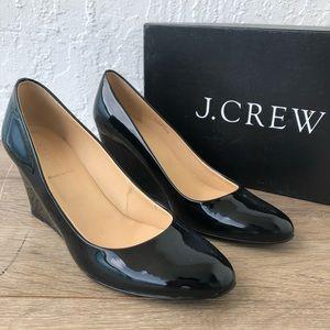 J. Crew Black Martina Patent Leather Wedge 9